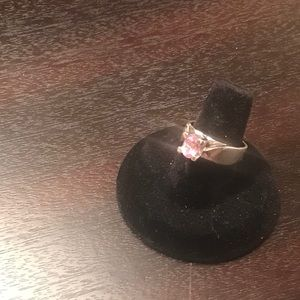 14K White Gold Ring w/ Pink Square Stone